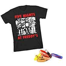 Five Nights At Freddy's Red Letters Licensed T-shirt and Bracelet