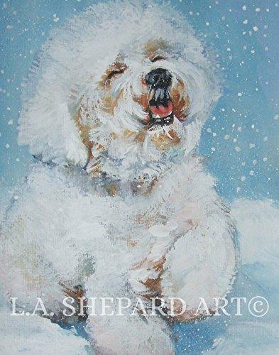 Bichon Frise Dog Portrait - A Bichon Frise dog art portrait print of an LA Shepard painting 11x14