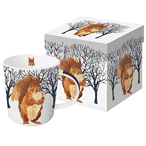 (Paperproducts Design Mug In Gift Box Featuring Winter Squirrel Design, 5 x 4 x 4