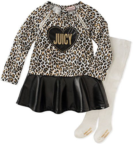 Juicy Couture Girls' Dress and Tight Set, Silent Vanilla/Black Vinyl/Gold, 18M ()