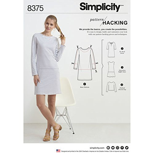 SIMPLICITY 8375 MISSES' KNIT DRESS /TOP W/ OPTIONS FOR DESIGN HACKING (SIZE XXS-XXL) SEWING PATTERN Simplicity Misses Dresses