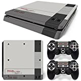 ZoomHit Ps4 Slim Playstation 4 Slim Console Skin Decal Sticker NES Retro + 2 Controller Skins Set (Slim Only)