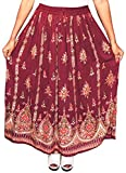 OMA Women's Sequined Broomstick Hippy Gypsy Bohemian Long Skirt - Premium Quality Brand (Burgundy- Maroon)