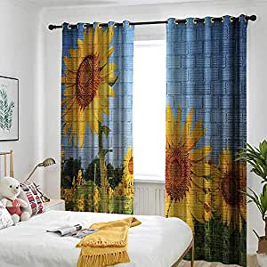 Amazon Com Rustic Home Decor Blackout Curtain Sunflowers