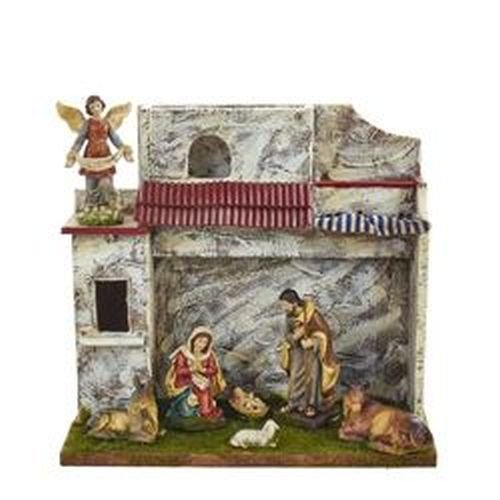 Kurt Adler 5'' Musical Nativity Set with 7 Figures and Stable