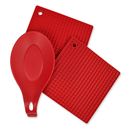 (DII Kitchen Millennium, 2-Piece, Heat Resistant, Seamless, Non Stick, Dishwasher Safe, BPA Free, Silicone Kitchen Set, Includes Potholder & Spoon Rest-)