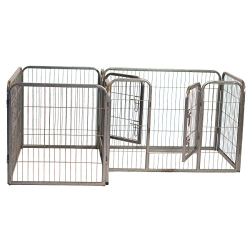 Iconic Pet Heavy Duty Double Dog Exercise Playpen, Metal Wire Divided Pen, Grey, 41 Length, 28 Height (Dog Lovers Tube)