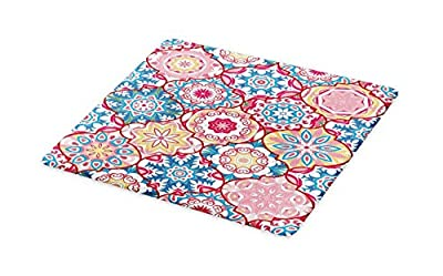 Lunarable Moroccan Cutting Board, Ethnic Colorful Bohemian Pattern in Pastel Colors with Abstract Flowers Ornate, Decorative Tempered Glass Cutting and Serving Board, Blue Magenta