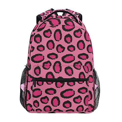 Leopard Pink Print Shoulder Backpack Student Bookbags for Travel Kid Girls Boys ()