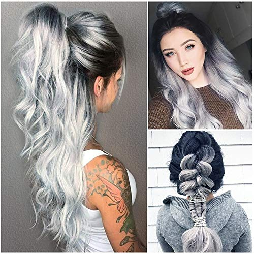 (Euone  Wig Clearance , Sexy Women Long Hair Black Gradient Big Wave Long Curly Wigs Rose Net High Temperature Synthetic Cosplay Photography Hair)