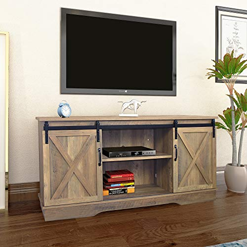 "Rainbow Sophia Forest Series Wooden TV Stand with Sliding Barn Door for TVs up to 65"" (Shaded Oak)"