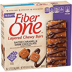 Fiber One Salted Caramel & Dark Chocolate 5 Layered Chewy Bars (Pack of 2 - 10 Total Bars) Rich Chewy Caramel Snack Bar