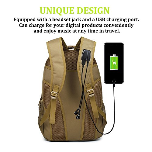 Backpack, Schoolbag, Business Laptop Computer Rucksack, Tactical Backpack, with USB Charging Port and Headset Port, Suitable for Outdoor Exercise, School, Cycling and Travel by Qcute (Image #1)