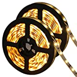 LE 12V LED Strip Light, Flexible, SMD 2835, 300 LEDs, 16.4ft Tape Light for Home, Kitchen, Party, Christmas and More, Non-waterproof, Warm White, Pack of 2