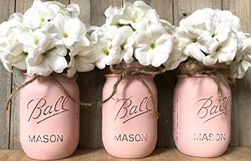 (Pink Painted Mason Jars, Shabby Chic Mason Jars, Country Decor, Painted Mason Jars, Baby Shower Centerpiece, Nursery)