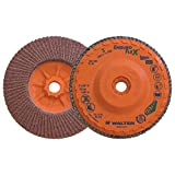 """Walter Enduro-Flex Stainless Flap Disc, 5"""" Diameter, 40 Grit, Type 29, 5/8""""-11 Thread Size, Trimmable Wood Fiber Backing, Zirconia Alumina (Pack of 10)"""