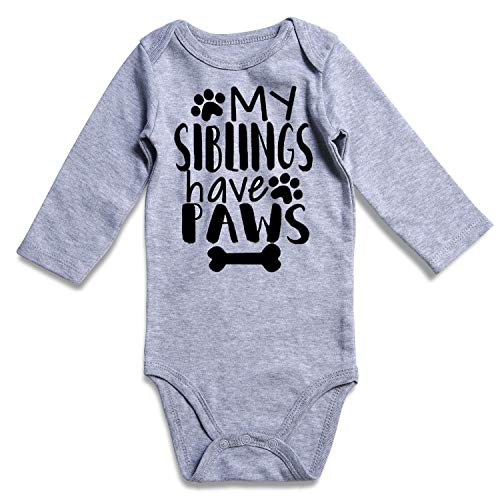 Baby Unisex Layette (BFUSTYLEMy Siblings Have Paws Baby Boys Girls Long Sleeve Bodysuit Jumpsuit Letter Design Winter Romper Layette for Kids Boy Girl 6-12 Months)