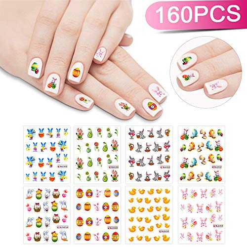 Nail Sticker Design - INFILILA 8PACK Easter Nail Art Sticker Set Easter Rabbit Chicken Egg Nail Stickers Decals Around 160 Pattern Nail Art Stickers Dacels Nail Design Decoration Manicure Decals Nail Art Accessory