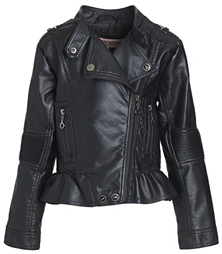 Urban Republic Kids Girl's Distressed Faux Leather Jacket (Little Kids/Big Kids) Black Outerwear (Leather Distressed Kids)