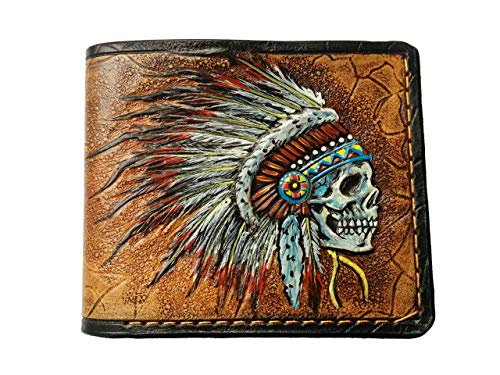 Men's 3D Genuine Leather Wallet, Hand-Carved, Hand-Painted, Leather Carving, Custom wallet, Personalized wallet, Indian Skull, Skull wallet, Skeleton, Red Man, Native American Skull