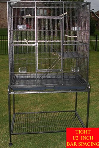 64″ Large Wrought Iron 4 Levels Ferret Chinchilla Sugar Glider Mice Rat Mouse Hamster Cage Tight 1/2-Inch Bar Spacing (Black Vein)
