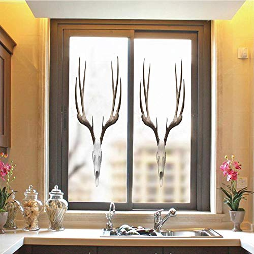 Antlers Decor 3D No Glue Static Decorative Privacy Window Films, A Deer Skull Skeleton Head Bone Halloween Weathered Hunter Collection Decorative,17.7