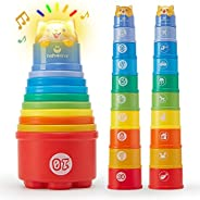 Baby Toys 12-18 Months Toddler Toys Age 1-2 Rainbow Stacking Cups with Lights Sounds Number Nesting Stacking C
