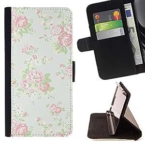 BullDog Case - FOR/Sony Xperia M2 / - / vintage vignette retro wallpaper floral /- Monedero de cuero de la PU Llevar cubierta de la caja con el ID Credit Card Slots Flip funda de cuer