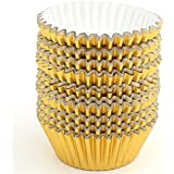 Zicome 200 Count Paper Cupcake Baking Cups Liners, Standard Size, Gold