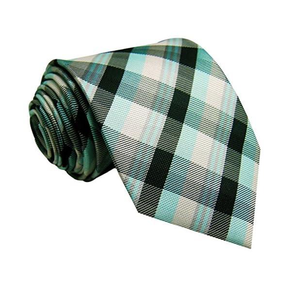 Shlax&Wing Tartan Plaids White Black Green Neckties Mens Ties Checkered Long