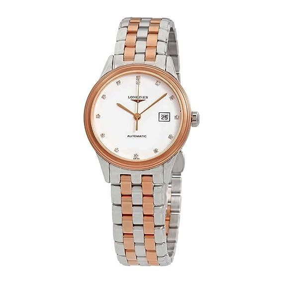 Longines Flagship L4.374.3.99.7 - Reloj de pulsera para mujer, esfera blanca con diamante automático: Amazon.es: Relojes