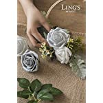 Lings-moment-Artificial-Flowers-Roses-25pcs-Real-Looking-Shimmer-Silver-Grey-Fake-Roses-wStem-for-DIY-Christmas-Tree-Xmas-Wedding-Party-Centerpieces-Arrangements-Party-Decor
