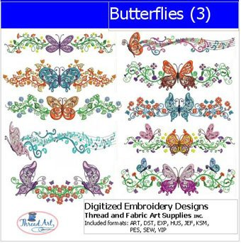(Threadart Machine Embroidery Designs - Butterflies(3) - USB Stick)