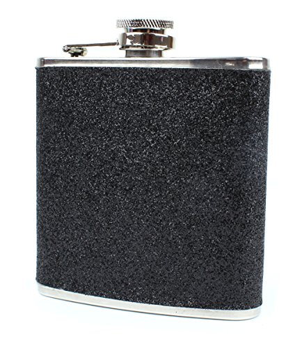 Stainless Steel With Colorful Glitter Hip Flask - Stores 6 Ounces -