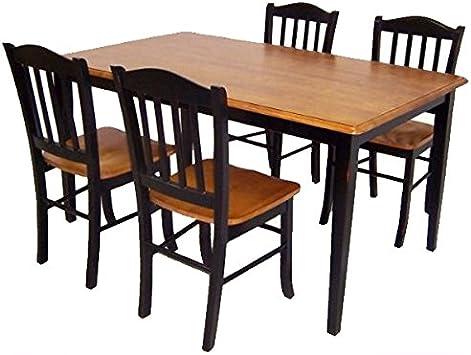 Amazon Com Boraam Shaker 5 Piece Dining Room Set Black Oak Furniture Decor