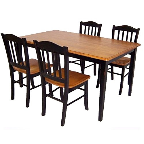 - Boraam 80536 Shaker 5-Piece Dining Room Set, Black/Oak