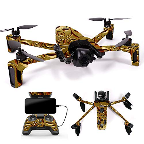 Cheap MightySkins Skin for Parrot Anafi Drone – Mosaic Gold | Protective, Durable, and Unique Vinyl Decal wrap Cover | Easy to Apply, Remove, and Change Styles | Made in The USA