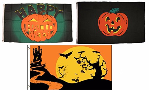 ALBATROS 3 ft x 5 ft Happy Halloween 3 Pack Flag Set #186 Combo Banner Grommets for Home and Parades, Official Party, All Weather Indoors Outdoors ()