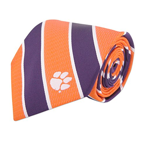 (NCAA Clemson Tigers Mens Woven Silk Thin Stripe Collegiate Logo Tie 2, Orange and Purple, One Size)