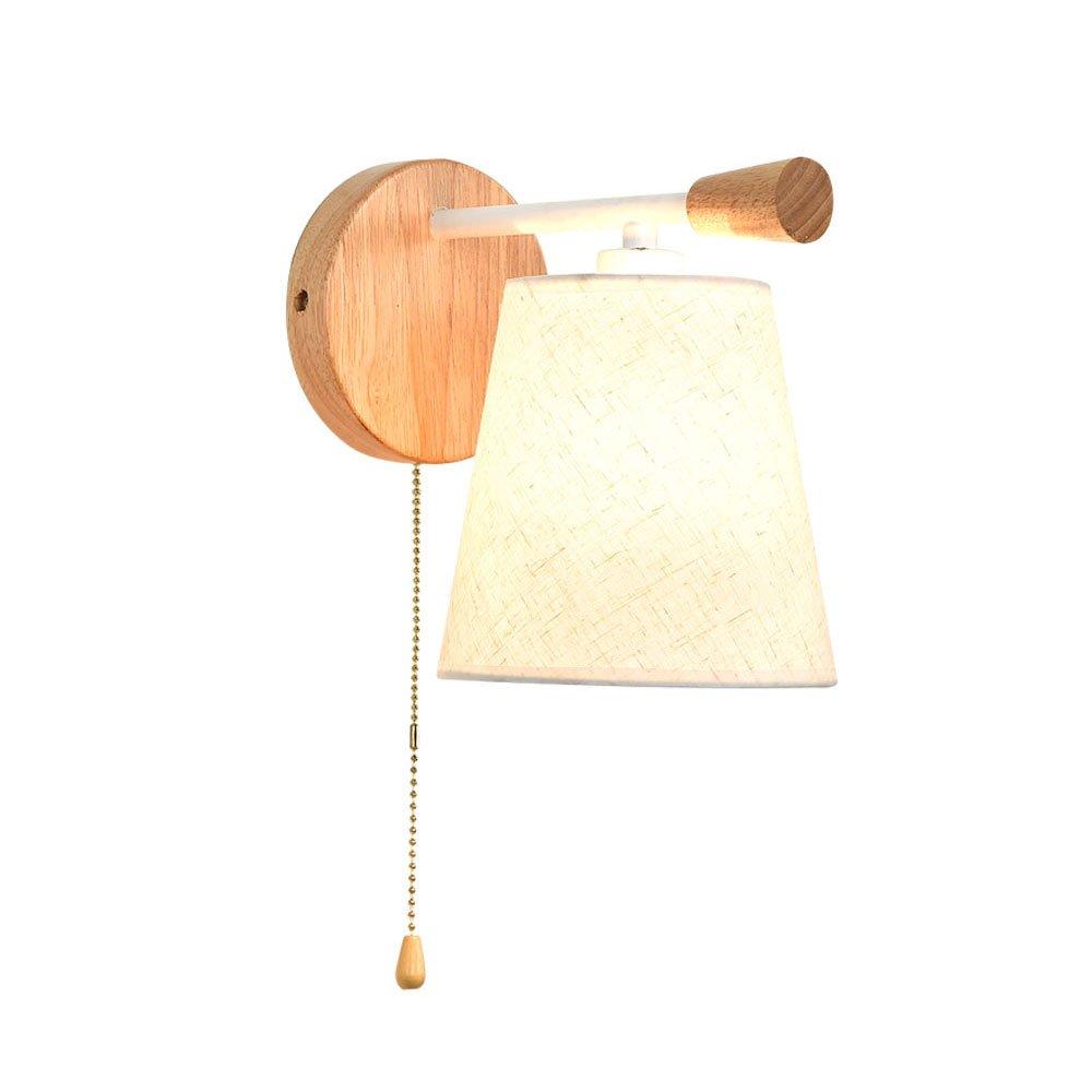 Wandleuchte Nordic Stoff Wandleuchte, moderne kreative Massivholz Pull Switch Schlafzimmer Nacht LED Wandleuchte, Lesesaal Schutz Auge Wand Lampe Größe  20,5 x 22,5 cm (E14 Lichtquelle) Dekorative l