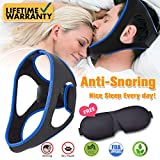 Anti Snoring Devices, Anti Snoring Chin Strap and Sleep Mask, Ajustable Stop Snoring Solution with Eyes Mask for Men and Women Anti Snoring Devices Snore Stopper Sleep AIDS for Sleeping Mouth Breather