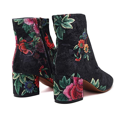 Tacón De Botas Floral Botitas Para Elegantes Estampado Nacional Negro Zapatos 6cm Cuadrado Estilo Luckygirls Ante Botín Mujer gXx7wn7qF