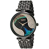 04eb074d4c6f Burgi Reloj de cristales Swarovski crystal Dial de patrón de pluma de pavo  real con Negro