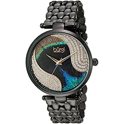 Burgi Women's Genuine Swarovski Crystal Peacock Feather Pattern Dial With Black Case on Black Stainless Steel...