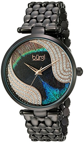 Burgi Women's Genuine Swarovski Crystal Peacock Feather Pattern Dial With Black Case on Black Stainless Steel Bracelet Watch BUR162BK
