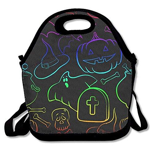Neon Funny Halloween Part Lunch Bag Tote Handbag