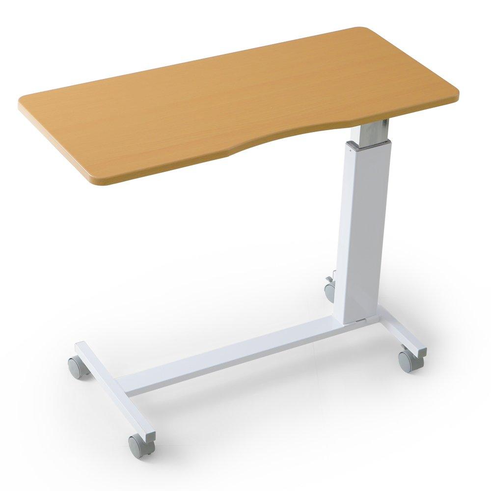 LOWYA (ロウヤ) テーブル ベッドテーブル ガス圧 昇降 66~90cm キャスター付 介護 サイドテーブル ナチュラル ホワイト おしゃれ 新生活 B01EH0EH98 ナチュラル×ホワイト脚 ナチュラル×ホワイト脚