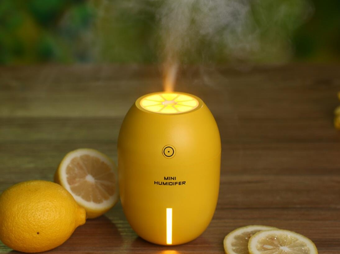 EBDcom Mini Humidifier Mini Creative Humidifier Auto Shut Off Protection (After 4 Hours) With USB Fan, LED Light, For Bedroom Baby room Home Office Car Study Yoga Spa,Gift ideal (Lemon Yellow)