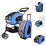 MULTIFUNCTION Pet Carrier + Backpack + CarSeat + Pet Carrier Stroller + Carriers with Wheels for dogs and cats ALL IN ONE (5-in-1 Blue)