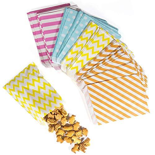 Candy Stripe Paper Bags,Xibin New Version Sweets Bags,Oil-proof Coloured Candy Stripe Paper Bags Candy Paper Bags Party Bags Treat Bags Party Paper Sweet Bags for Sweets,100pcs,Random